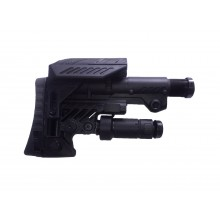 Buttstock with adjustable cheek rest, folding rear monopod